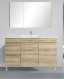 Berge Timber Wood Grain Vanity Set White Oak Slim Width