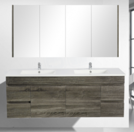 Berge Timber Wood Grain Vanity Set Dark Grey