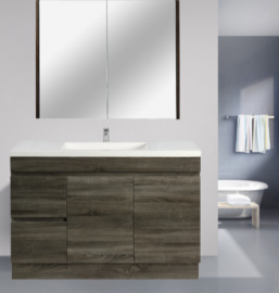 Berge Timber Wood Grain Vanity Set Dark Grey Slim Width